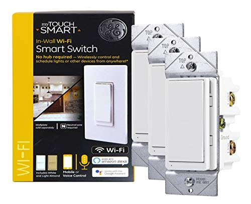 myTouchSmart 47761 GE WiFi Smart Light Switch 3-pack, Works w/Alexa, Google Assistant, 2.4GHz Single Pole/3-Way Ready, Neutral Wire Required No Hub Needed, White & Light Almond