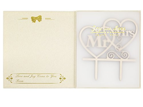LOVENJOY with Gift Box Mr and Mrs Monogram Wedding Engagement Cake Topper Rustic Wood (5.5-inch) by LOVENJOY (Image #2)