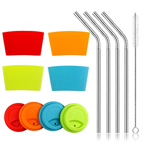 Silicone Sleeves and Lids with Stainless Steel Straws Set, Kereda 4 Pack Non-slip Heat Resistant Cup Covers Multicolored 3 Inches Dia for 16oz. Coffee Mugs/Tumblers / Rambler