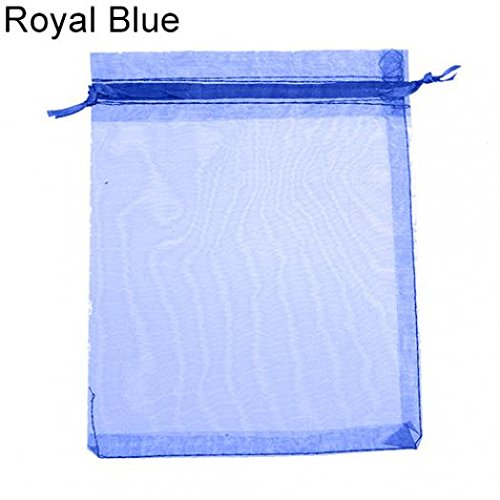 50 Pcs Organza Jewelry Gifts Drawable Box Wedding Gift Candy Mini Pouch Bag - Royal Blue 7cm by 9cm Ameesi Blue Mini Gift Box