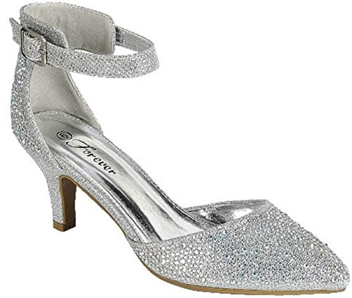 Delicacy Sunrise-36 Women Pointed Toe Wedding Bridal Rhinestone Glitter Low Heel Pump Sandal -