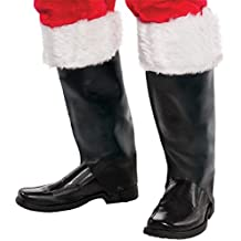 Amscan Santa Boot Covers, One Size Fits Most, Black