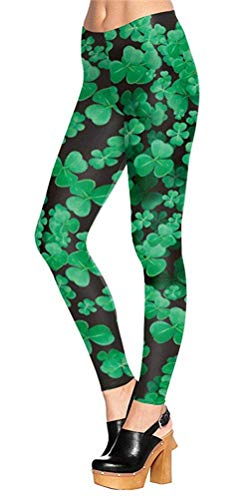 (Womens St.Patrick's Day Leggings Green Clover Pattern Stretchy Shamrock Pants Black)