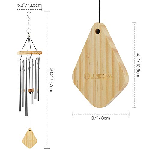 Lemecima Wind Chimes 30 Inch Indoor outdoor Décor with soothing melodic tones adjustable bell with 6 keys with mute mode