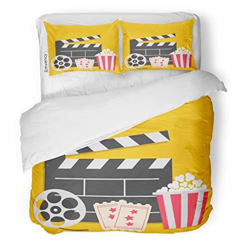 Semtomn Decor Duvet Cover Set Full/Queen Size Big Movie Reel Open Clapper Board Popcorn Box Ticket 3 Piece Brushed Microfiber Fabric Print Bedding Set Cover -