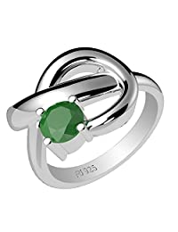 0.60ctw,Genuine Emerald 5x5mm Round & Solid .925 Sterling Silver Rings