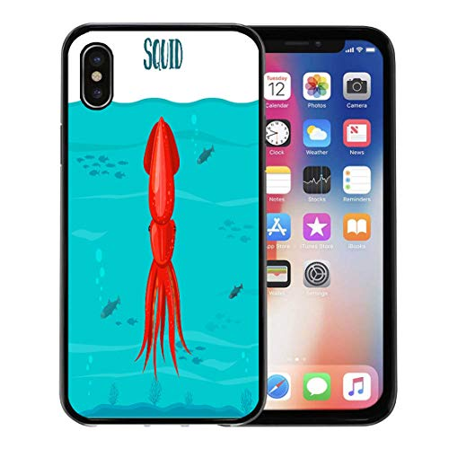 Semtomn Phone Case for Apple iPhone Xs case,Squid Red Blue Water Seafood in Sea Cartoon Character Flat for Infographics Packaging for iPhone X Case,Rubber Border Protective Case,Black ()