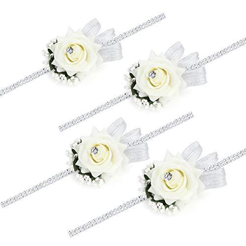 FAYBOX Velvet Open Rose Silvery Bling Ribbon Rhinestone Stretch Bracelet Wedding Prom Wrist Corsage Hand Flower Pack of 4 Ivory
