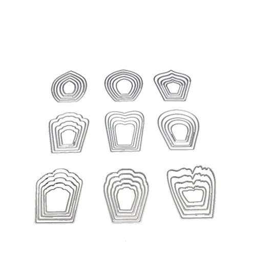 Healifty Cutting Dies Metal Stencil Template Mould for Album Scrapbooking Paper Card DIY Art Craft Decor (Nine Flowers)