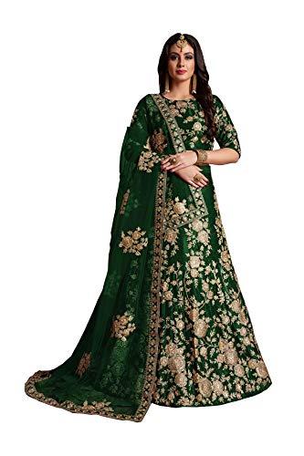 CRAZYBACHAT Latest Indian Designer Color Dark Green Velvet Silk Lehenga Choli
