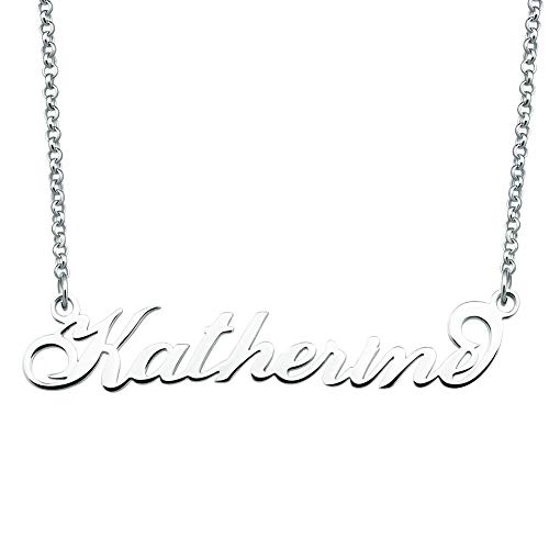 SexyMandala Personalized Name Necklace Initial Necklace Customized Sterling Silver Original Font Pendant Jewelry Same Day Shipping Gift for Katherine