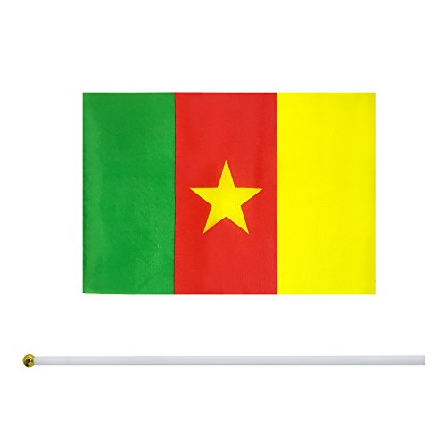 Cameroon Flag Cameroonians Flag Stick Flag Small Mini Flag 50 Pack Round Top National Country Flags,Party Decorations Supplies for Parades,World Cup,Sports Events,Celebration ()