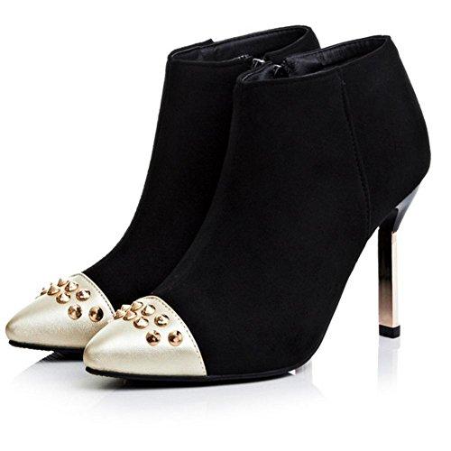 metallo scarpa HQuattro con rivetto H black stagioni gomma 40 attrito dita donne stivali rosso di Nero 0fqXdv