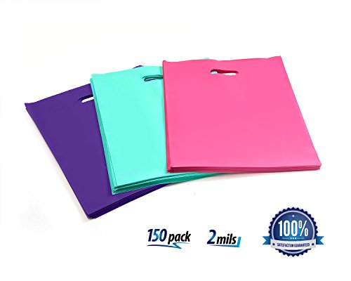 "150 Merchandise Bags, Extra Thick 2 Mils Shopping Bags, 12"" x 15"", Glossy Plastic/Pink/Purple/Teal - with Die Cut Handles, Foldable, Ideal for T-Shirts, Retail, Grocery"