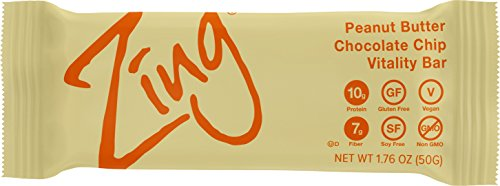 Zing Vital Energy Nutrition Bar, Peanut Butter Chocolate Chip, (12 Bars), High Protein, High Fiber, Low Sugar, Chunky Peanut Butter, Real Dark Chocolate Chips, Soft Cookie Dough For Sale