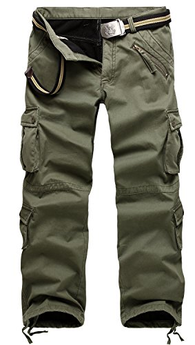 - AOYOG Thicken Mens Winter Fleece Lined Cargo Pant Windproof Work Pants(army green), 38W33L