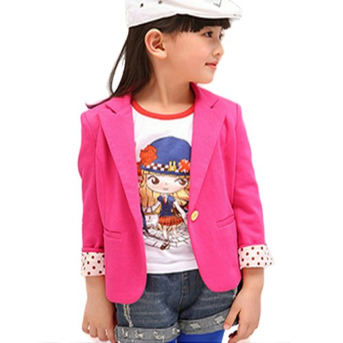 Urparcel Girls Solid Color Outerwear Blazer Long Sleeve Jackets One Button 2-7y