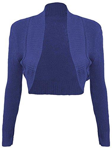 Baleza Mujeres de manga larga Bolero Bolero de Punto Abrir Cardigan Top para mujer Azul Real