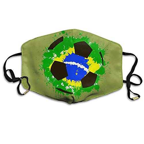 Brazil Flag Soccer Ball Unisex Face Mask Ear-loop Dust Facemask Cycling Breathable Mask