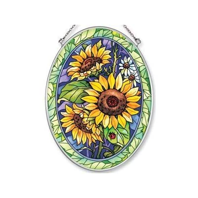 Amia Hand Painted Glass Suncatcher with Sunflower Design, 5-1/4-Inch by 7-Inch Oval: Home & Kitchen