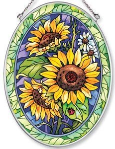 Amia Hand Painted Glass Suncatcher with Sunflower Design, 5-1/4-Inch by 7-Inch Oval