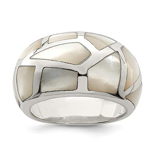 925 Sterling Silver Mother Of Pearl Band Ring Size 6.00 Fine Jewelry Gifts For Women For Her