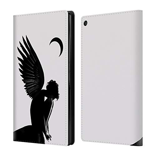 Official LouiJoverArt Angel Black and White Leather Book Wallet Case Cover for Amazon Fire HD - Angel Cover