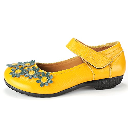 Lowtop Odema Low Leather Loafers Shoes Jane Yellow Flower Flats Heel Mary Oxfords Pregnant Mother Womens F0wnq0arB