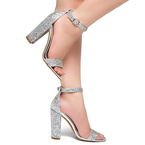 ca47a376a1 Herstyle Rosemmina Womens Open Toe Ankle Strap Chunky Block High Heel Dress  Party Pump Sandals Silver Glitter 10