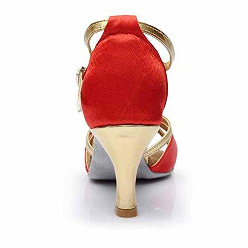 HROYL Zapatos de baile/Zapatos latinos de satín mujeres ES7-F55 7CM Rojo