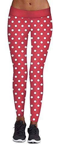 White Polk Dot Print Red Leggings for Women Ugly Christmas Party Costume ()
