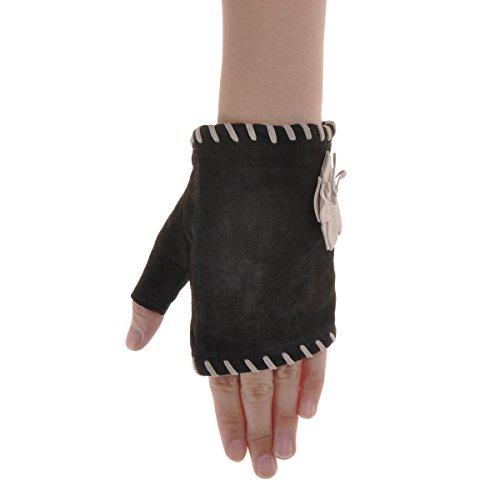 ZLYC Women Teen Girls Hand Sewing Pig Suede Embellished Wrist Fingerless Gloves, Brown