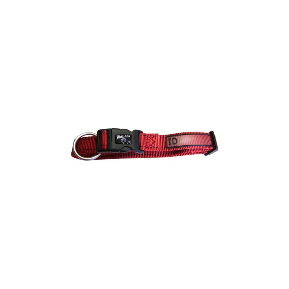 Hamilton 1 x 26 Single Thick Nylon Adjustable (18 inch to 26 inch) Pet Sport ID Dog Collar, Red