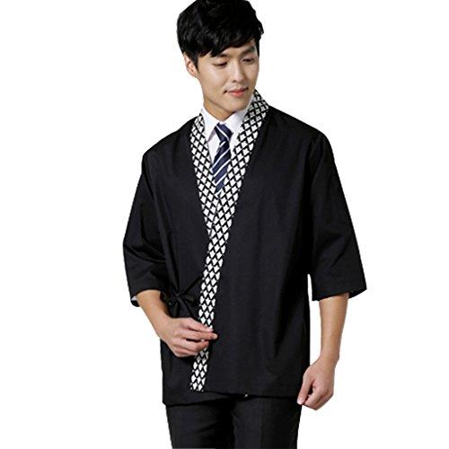 Sushi chef coat for men Japanese restaurant work uniforms black,Large