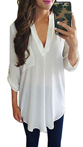 Tunique Haut Blouse Vrac Femme Blanc Ete Printemps Top Longue Casual Courte Manches Aitos Chic Chemisier V Col 6dBqxRvw