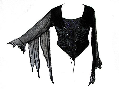 Dark Star Plus Size Gothic Purple Satin Black Velvet Lace Winged Sleeves Top XL-2X+