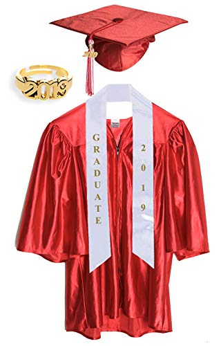 Small Red Shiny Preschool and Kindergarten Graduation Cap and Gown, Tassel and 2019 Charm -
