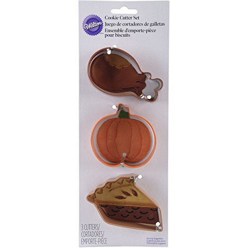Wilton 2308-2017 3 Piece Thanks Giving Meal Cookie Cutter Set, Assorted -