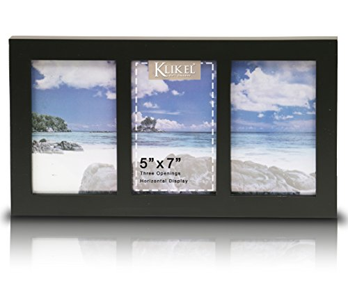 Klikel Three Photo Collage Solid Black Wood Picture Frame - 3 Opening 5 X 7 Picture Slots