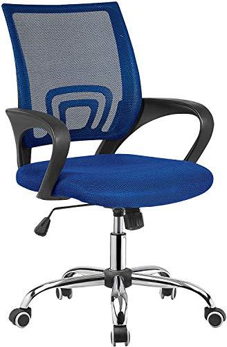 Tumueblekit Silla de Oficina, Tejido 3D y Patas cromadas, Azul, 100/90x61x57