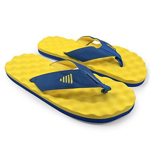 Weg Voor Een Run Voor Zolen Met Herstel-flip-flops | Sandalen Voor Mannen En Vrouwen Geel / Blauw