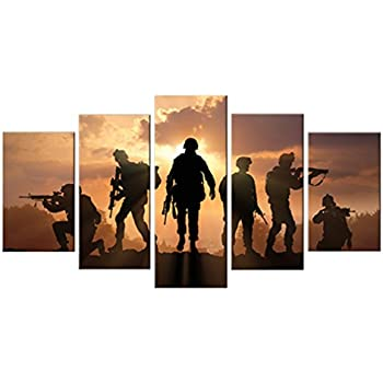 5 Pieces Modern Canvas Painting American Soldiers Picture Printing On Canvas Stretched and Framed Giclee Artwork For Home Decor