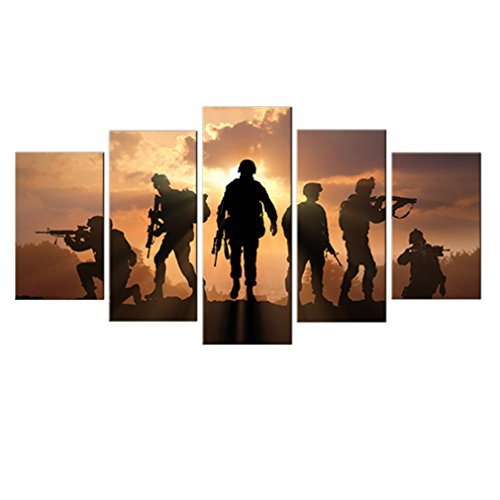 5 Pieces Modern Canvas Painting American Soldiers Picture Pr