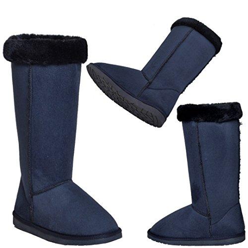 Generación Y Para Mujer Botas De Media Pantorrilla Cuff Cuff Trimming Casual Pull En Zapatos Azul