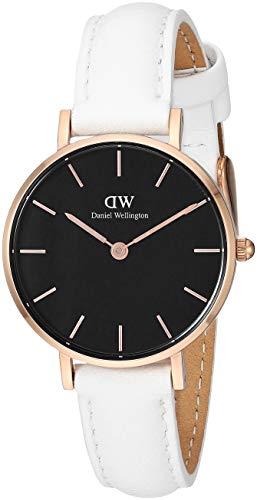 (Daniel Wellington Women's Classic Petite Stainless Steel Japanese Quartz Watch with Leather Strap, White, 12 (Model: DW00500481))