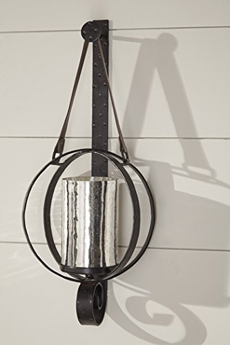 Ashley Furniture Signature Design - Despina Circular Metal Wall Sconce - Leather Strap for Hanging - Brown ()