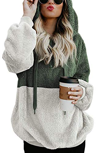 atshirt - Long Sleeve 1/4 Zip Up Faux Fleece Pullover Hoodies Coat Tops Outwear with Pocket 174 Army Green S ()