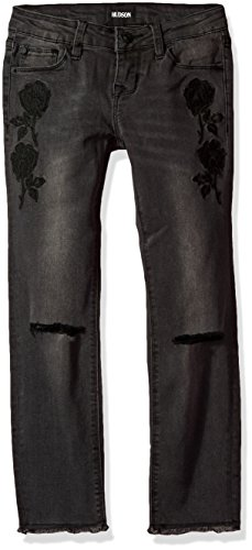 HUDSON Big Girls' Black Iris Ankle Skinny with Embroidery, Black Ink, (Embroidery Ink)