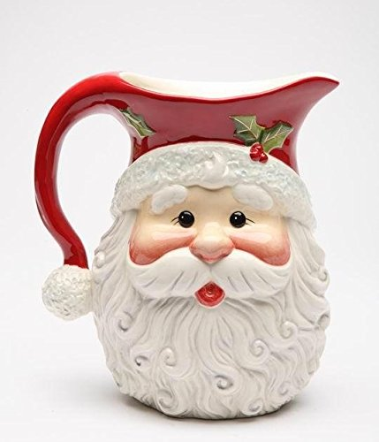 Pitcher Claus Santa - I Believe: Holiday Santa Claus Shaped Design Pitcher Collectible