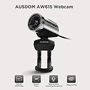 FHD Webcam 1080P, AUSDOM AW615 Computer Camera with Microphone USB Web Cam for Online Video Calling Skype YouTube Live…